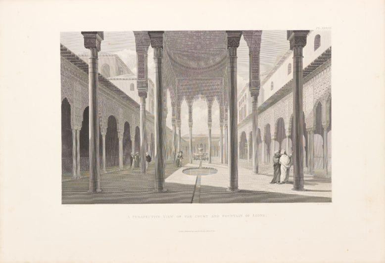 Widok Dziedzińca Lwów w Alhambrze, w:  J.C. Murphy, The arabian antiquities in Spain, Londyn 1815
