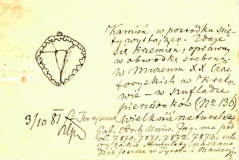 Józef Łepkowski, Karta katalogu Gabinetu Archeologicznego, Zbiory Muzeum Archeologicznego w Krakowie