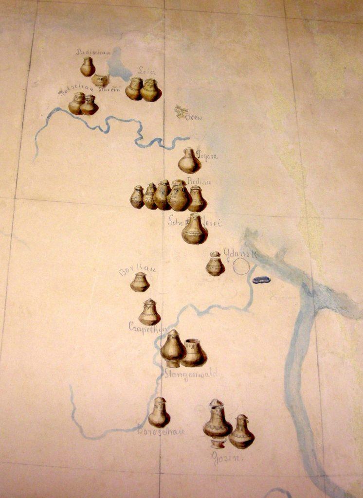 Józef Łepkowski, Fragment mapy dorzecza Wisły, 1876, Zbiory Muzeum Archeologicznego w Krakowie