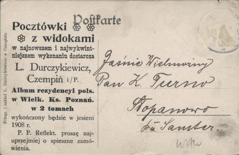 Leonard Durczykiewicz, rewers pocztówki, Zbiory Biblioteki Uniwersyteckiej w Poznaniu
