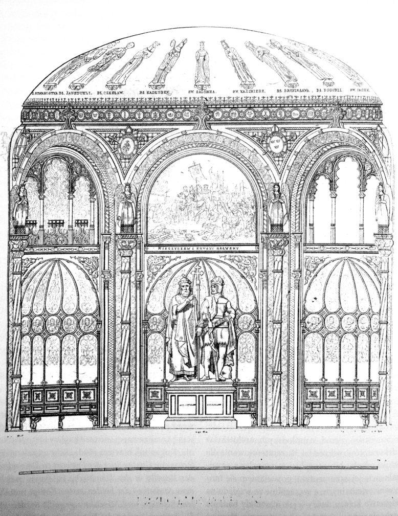 Wnętrze kaplicy, w: Edward Raczyński, Sprawozdanie z Fabryki Kaplicy Grobowej Mieczysława i Bolesława Chrobrego w Poznaniu, Poznań (1841) 1845