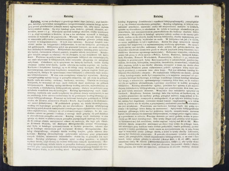 """Hasło """"katalog"""" autorstwa Karola Estreichera w: Encyklopedia powszechna S. Orgelbranda, T. 14 (Kapil–Kodeń), Warszawa 1858, s. 372–373. Zbiory Biblioteki Narodowej w Warszawie."""