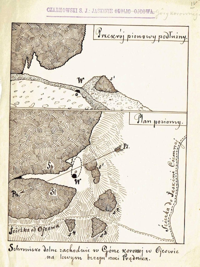 S.J. Czarnowski, plan Schroniska w Górze Koronnej w Ojcowie. Fot. Muzeum Archeologiczne w Krakowie.