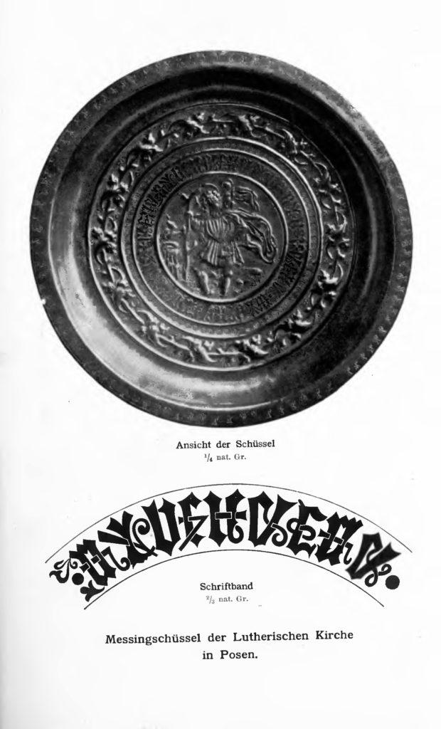 Mosiężna misa z luterańskiego kościoła w Poznaniu. Zeitschrift der Hist. Gess. (1897)