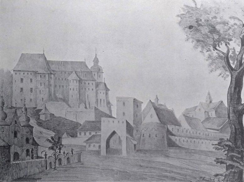 Widok Wawel z XVIII wieku. Kopia wykonana przez Z. Hendla i L. Schucha. Publikowana w Tece Grona Konserwatorów Galicyi Zachodniej, tom Wawel.