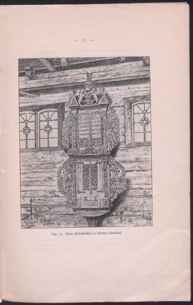 Mathias Bersohn, survey of wooden synagogues, engraving from: Kilka słów o dawnych bożnicach drewnianych w Polsce, 1903. Public Domain