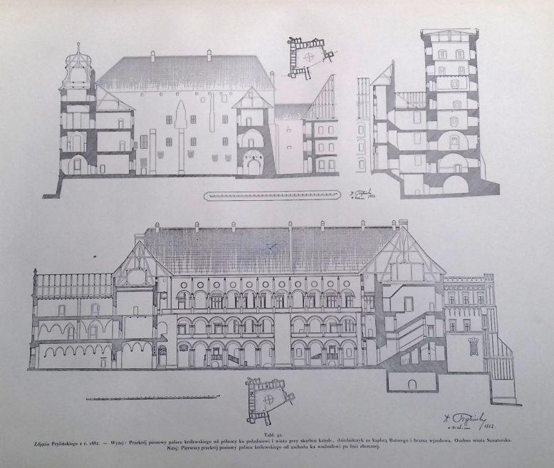 Zamek królewski na Wawelu. Dokumentacja wykonana przez T. Prylińskiego w 1882 r. Publikowana w Tece Grona Konserwatorów Galicyi Zachodniej, tom Wawel.