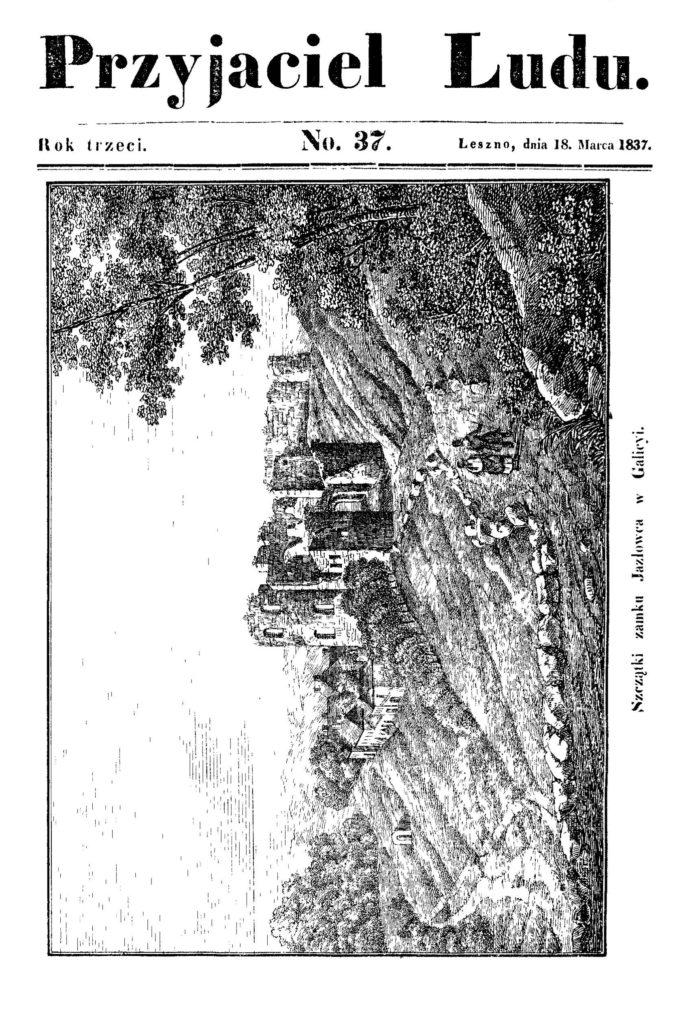"""Zamek w Jazłowcu, """"Przyjaciel Ludu"""", 1837, nr 37, str. tyt."""