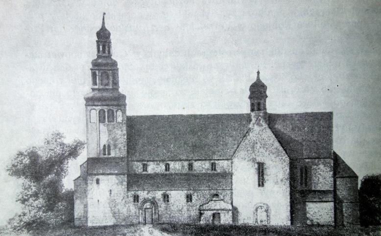 Kruszwica, kolegiata przed restauracją, litografia wg rys. F. Quasta, ok. 1840