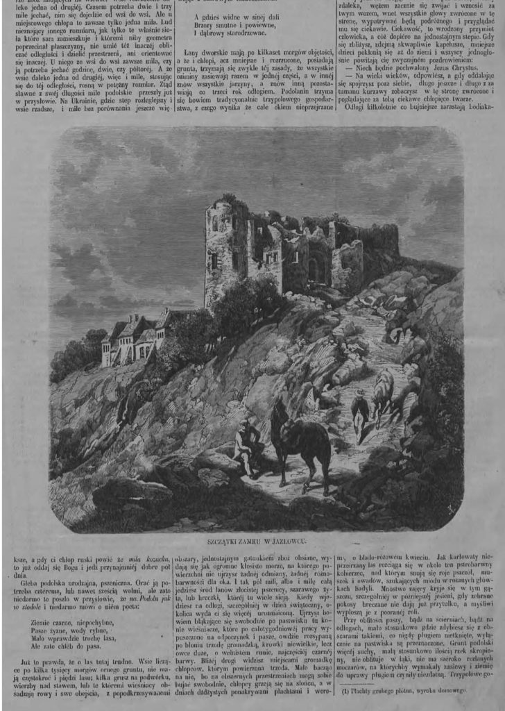 """Zamek w Jazłowcu, """"Tygodnik Ilustrowany"""", 1864, nr 223, s. 5"""