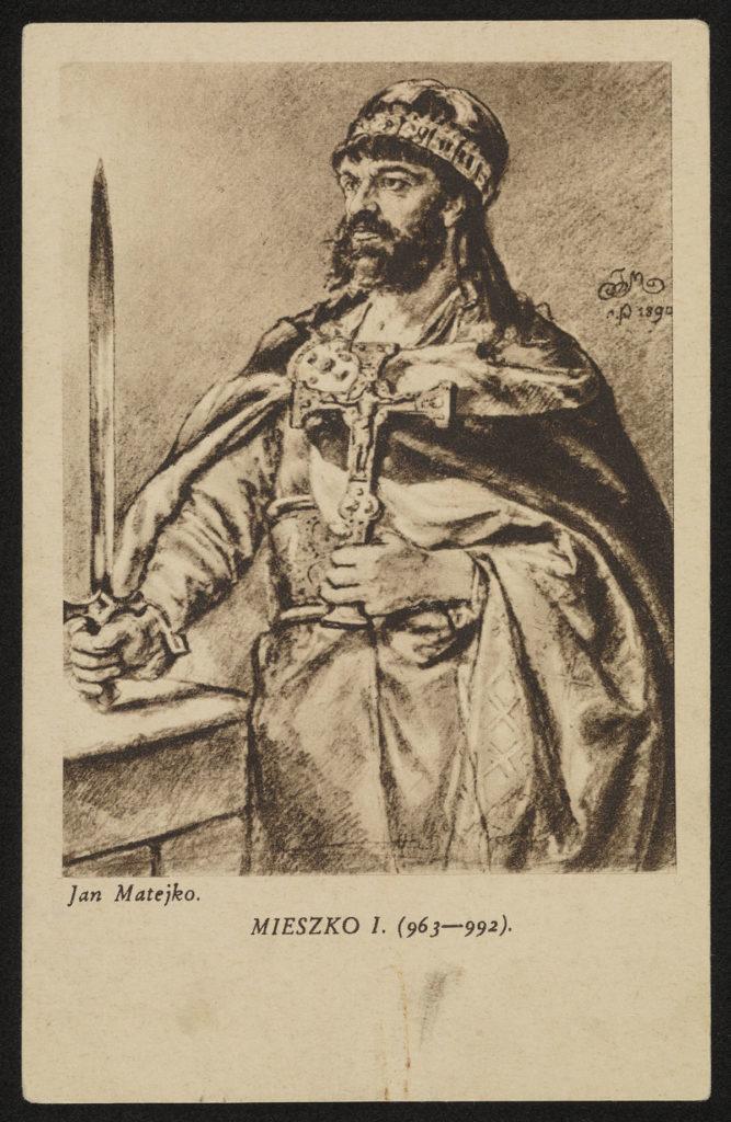 Mieszko I, pocztówka – fotografia rysunku Jana Matejki
