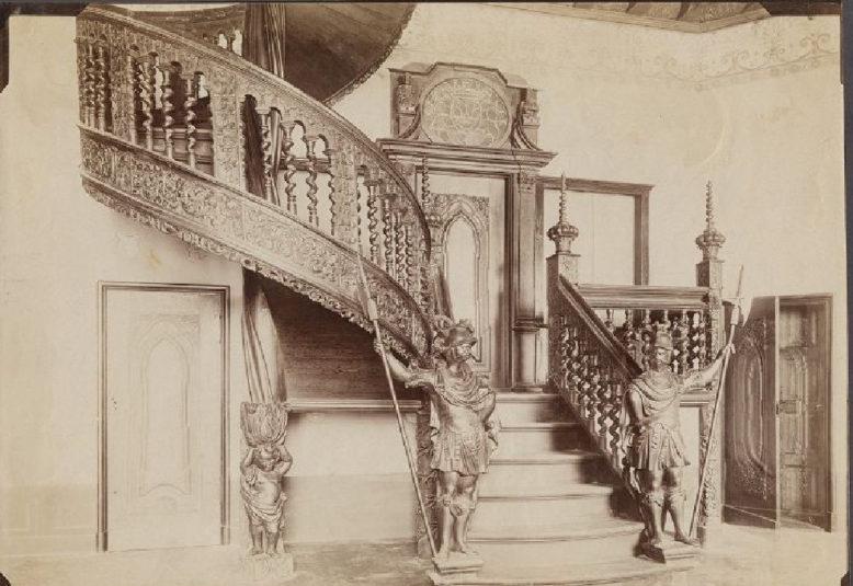 Sala Gdańska w Krzeszowicach Potockich, pocz. XX wieku, pocztówki