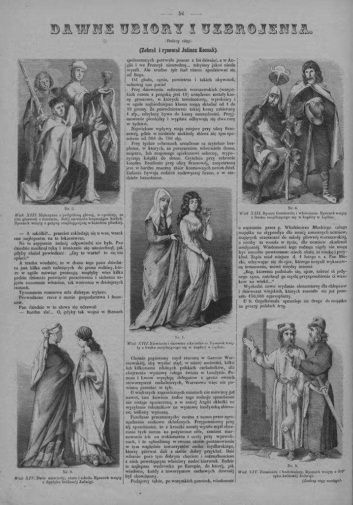 """Rubryka Dawne stroje i uzbrojenia, """"Tygodnik Ilustrowany"""", 1862 (124)"""