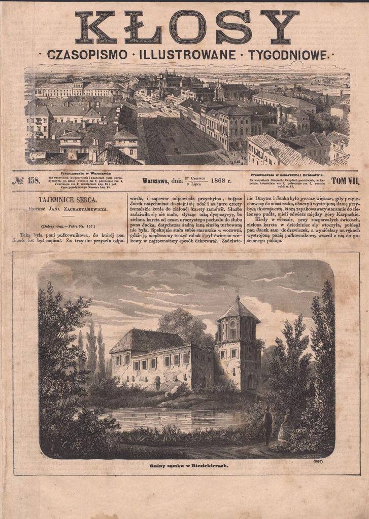"""Ruiny zamku w Biesiekierach, """"Kłosy"""", 1868 (2)"""