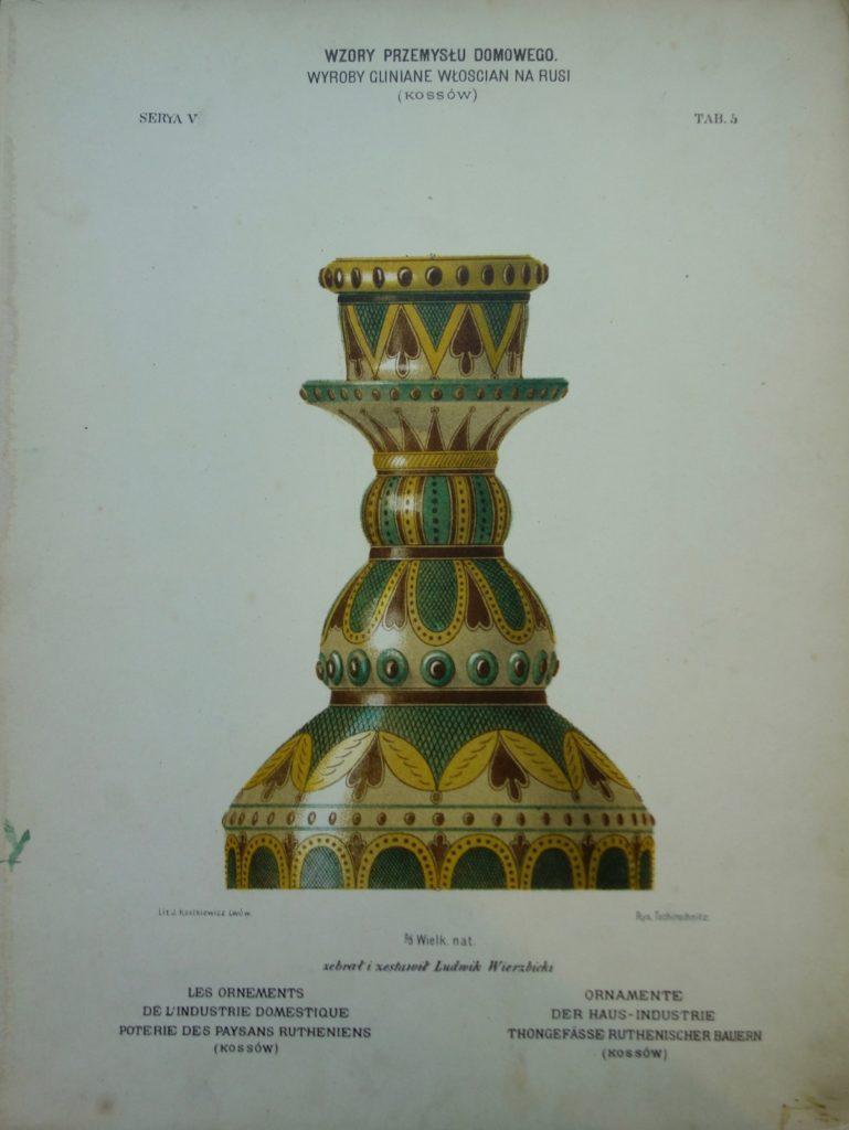 """Tablica chromolitograficzna z V serii """"Wzorów"""": naczynia gliniane, 1884"""