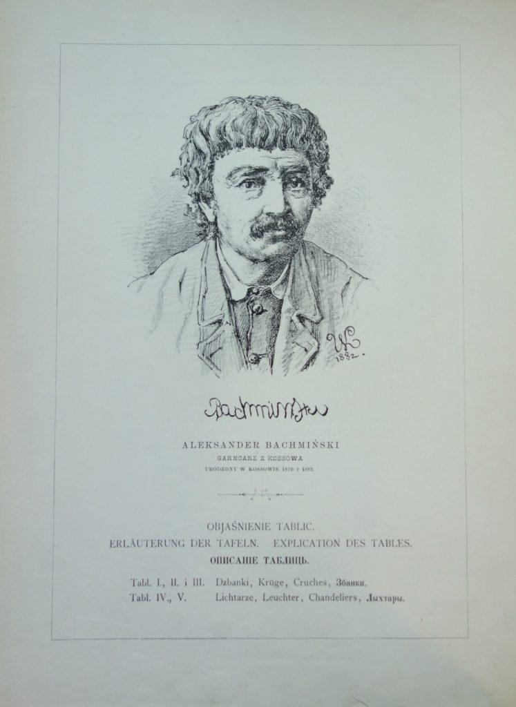 """Aleksander Bachmański, garncarz z Kossowa: ilustracja z V serii """"Wzorów"""", 1884"""