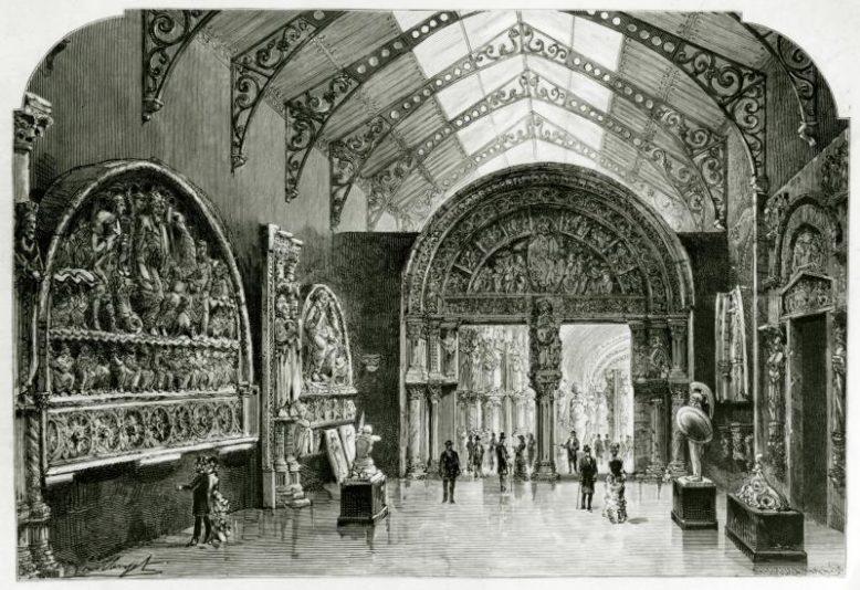 Musée de la sculpture comparée, premiere salle, z: Le Journal Illustre du 18 juin 1882, źródło: https://www.citedelarchitecture.fr/fr/article/histoire-du-musee