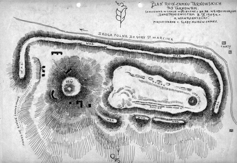 Plan ruin Zamku Tarnowskiego w Tarnowie. 1909 r. Rysował M. Wawrzeniecki. Ze zbiorów Muzeum Archeologicznego w Krakowie