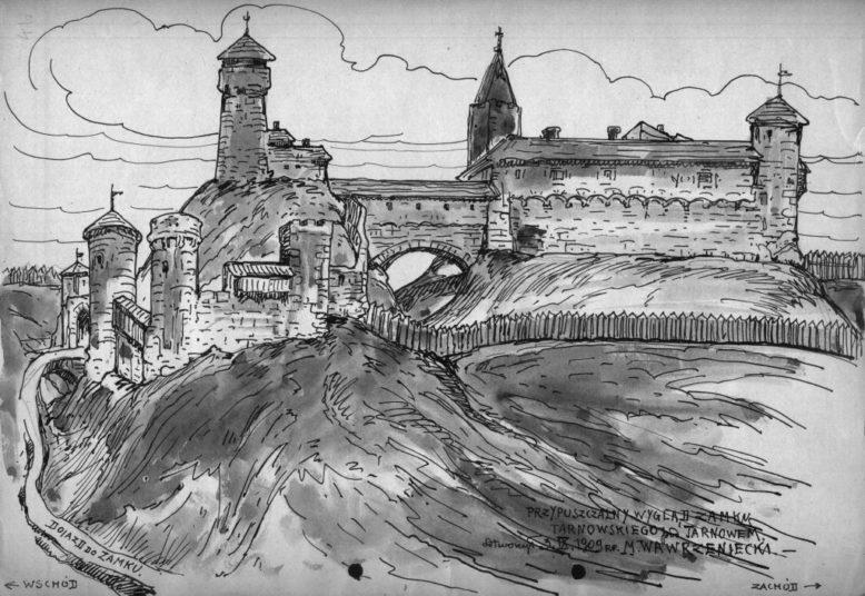 Przypuszczalny wygląd Zamku Tarnowskiego, odtworzony na podstawie zachowanych ruin przez M. Wawrzenieckiego. 1909 r. Ze zbiorów Muzeum Archeologicznego w Krakowie