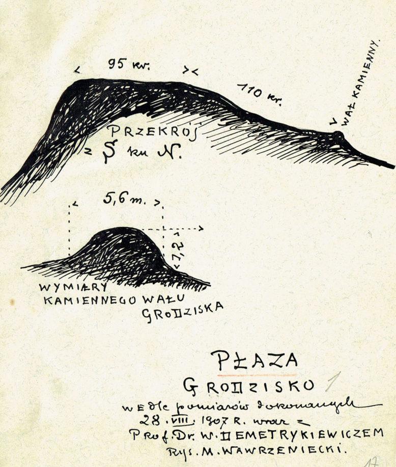 Szkic wykonany w czasie badań terenowych na grodzisku w Płazie, pow. Chrzanów. Rysował M. Wawrzeniecki. 1907. Ze zbiorów Muzeum Archeologicznego w Krakowie