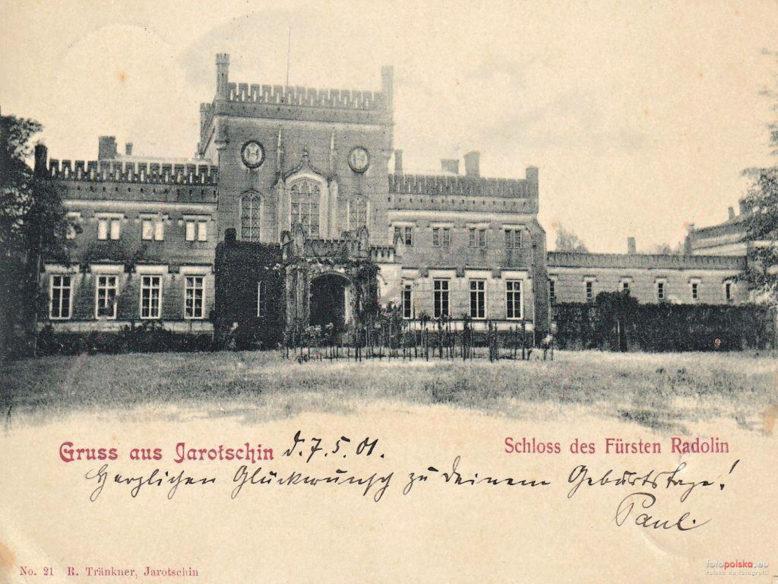 Pałac Radolińskich w Jarocinie, widok od frontu, pocz. XX wieku, pocztówka, domena publiczna