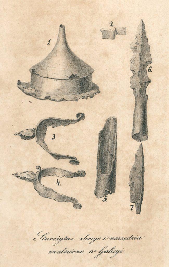 """""""Starożytne zbroje i narzędzia znalezione w Galicyi"""" – ilustracja z książki Żegoty Paulego, Starożytności galicyjskie, Lwów 1840. Domena publiczna"""