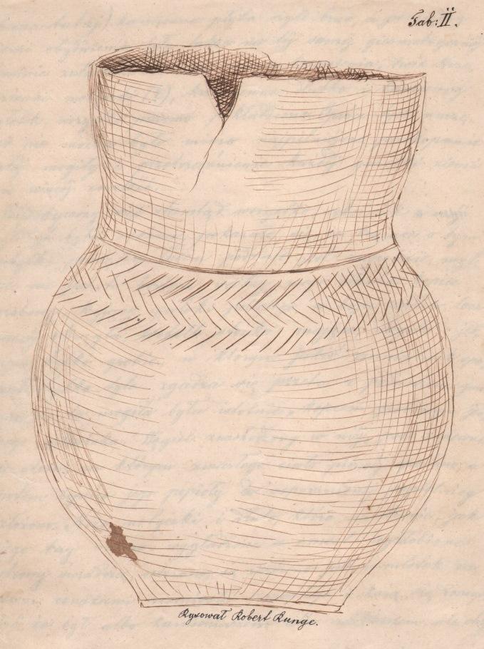 Rysunek naczynia wydobytego z kurhanu w Morawsku, przesłany do Towarzystwa Naukowego Krakowskiego w odpowiedzi na wydawane przez nie Odezwy. 1858 r. Ze zbiorów Muzeum Archeologicznego w Krakowie