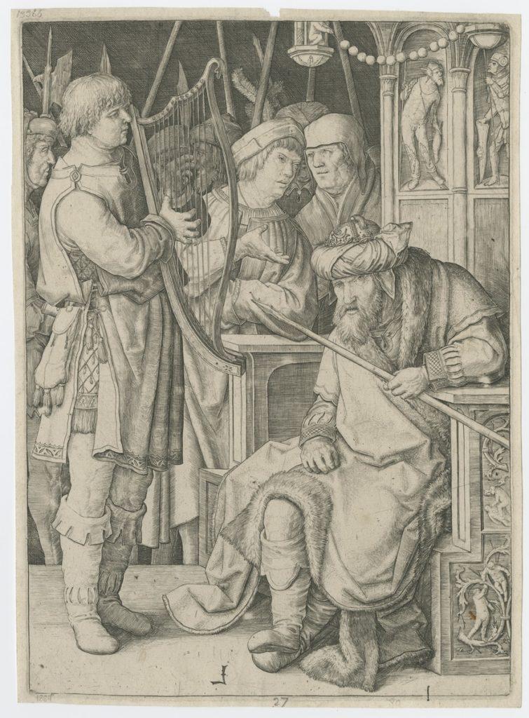 Lucas van Leyden (?), Dawid przed Saulem, ok. 1508, grafika, Biblioteka Polska w Paryżu, ob. Polska Akademia Umiejętności, źródło: http://www.paurat.pl