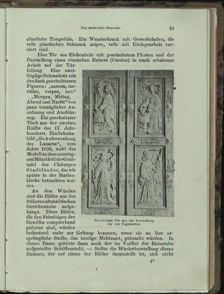 """Intarsjowane drzwi szafy z kolekcji muzeum, ilustracja z: R. Uebrick, """"Thorn. Illustrierter Führer,"""" Danzig 1903"""