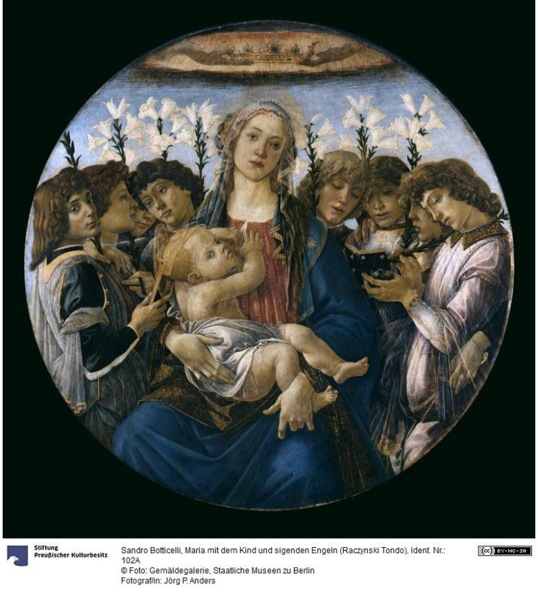 Sandro Botticelli, Maria z Dzieciątkiem i Świętymi, tzw. Raczynski Tondo, ok. 1477, obraz z kolekcji Atanazego Raczyńskiego, ob. e Gemäldegalerie der Staatlichen Museen zu Berlin - Preußischer Kulturbesitz, ilustracja ze strony: http://www.smb-digital.de