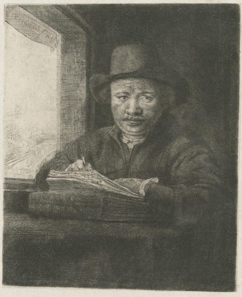 Rembrandt (?), Autoportret rysującego przy oknie, 1648, grafika,  Biblioteka Polska w Paryżu, ob. Polska Akademia Umiejętności, źródło: http://www.paurat.pl