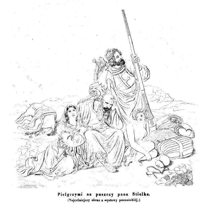 """Reprodukcja obrazu """"Pielgrzymi na pustyni"""" Hermanna Stilke, obraz z kolekcji Atanazego Raczyńskiego, litografia z: """"Przyjaciel Ludu"""", nr 35, 1838"""