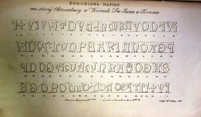 """Ilustracja z: W. Kolberg, """"Napis na starej chrzcielnicy w kościele św. Jana w Toruniu dokładnie przerysowany"""", Warszawa 1872"""