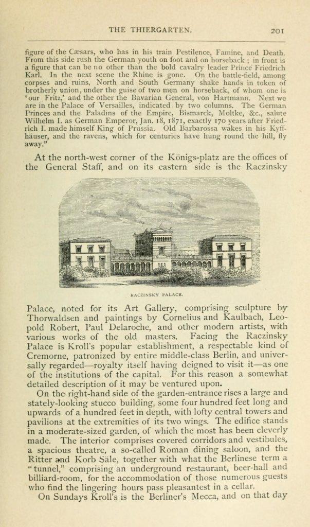 """Pałac A. Raczyńskiego przy Exercierplatz w Berlinie, rysunek z: H. Vizetelly, """"Berlin under the New empire"""", vol. I, London 1879, s. 201"""