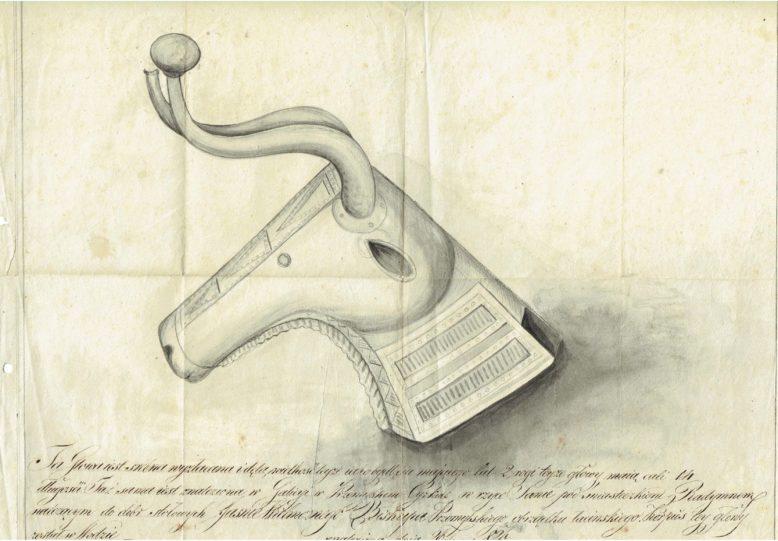 1.Rysunek srebrnej głowy byka wydobytej z Sanu w 1826 r. Ze zbiorów Archiwum Muzeum Archeologicznego w Krakowie