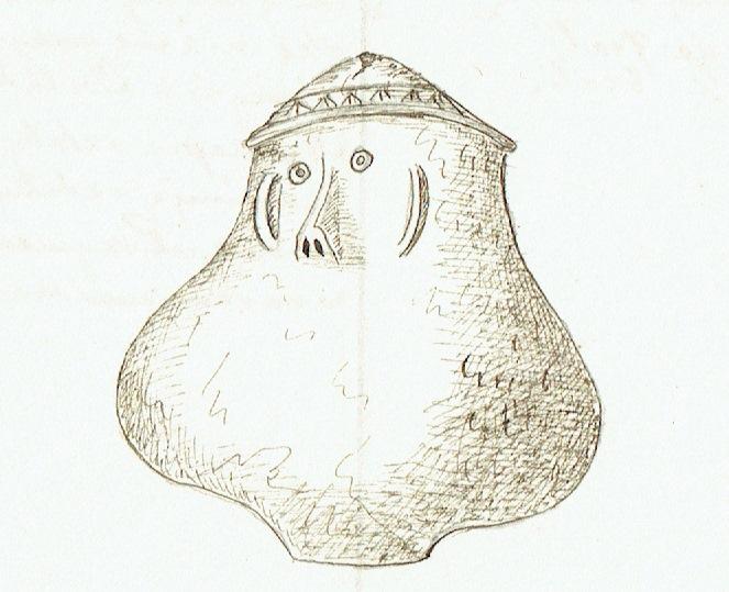 2.Rysunek urny twarzowej ze zbiorów Muzeum Starożytności TNK, odkrytej w XIX wieku pod Gniewem na Pomorzu. Ze zbiorów Archiwum Muzeum Archeologicznego w Krakowie