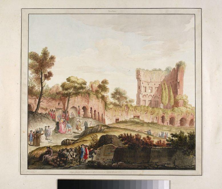 """Akwarelowana rycina z """"Vestigia delle Terme di Tito"""", wyd: Ludovico Mirri 1776. Muzeum Narodowe w Warszawie: domena publiczna"""