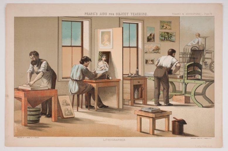 """Wnętrze zakładu litograficznego, z: """"Trades and Occupations"""", L. Prang & Co, Boston 1874"""