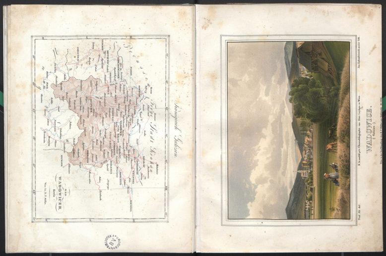 """Mapa i tablica z: Joseph von Mehoffer, """"Der Wadowicer-Kreis im Königreiche Galizien"""", wg. Akwarel Rudolfa von Alta, Wien 1843. Domena publiczna"""