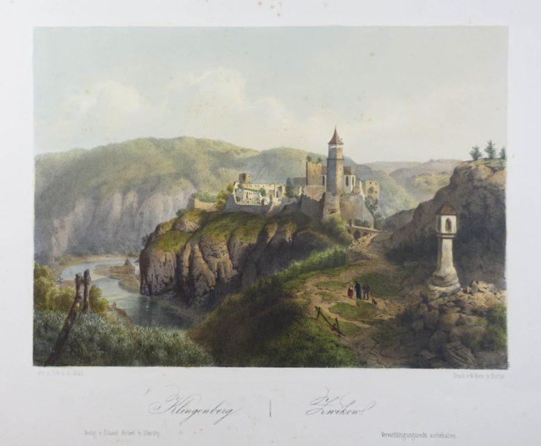"""Tablica z Eduard Hölzel, """"Malerisch-historisches Album des Königreichs Böhmen"""", Prag 1860 z kolorowanymi ręcznie litografiami"""