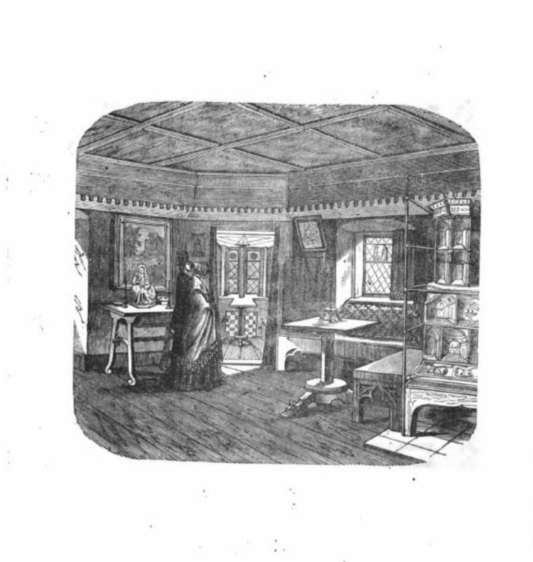 """Wnętrza pierwszej siedziby Germanisches Nationalmuseum w Norymberdze, z: """"Das Germanische Museum. Wegweiser durch dasselbe für die Besuchenden, von dr A. v. Eye, Vorstand der Museums-Sammlungen"""", Nürnberg 1853"""