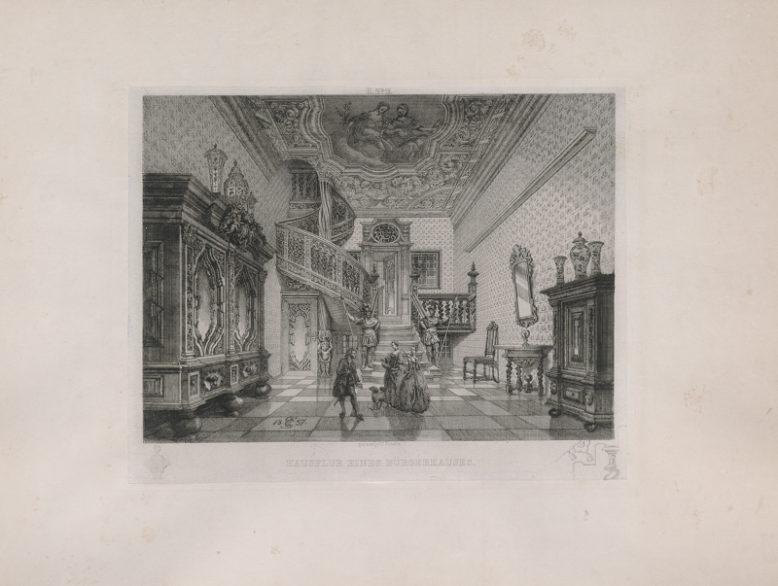 Carl Schultz, Hausflur eines Bürgerhauses (Sień domu przy ul. św. Ducha), 1857, domena publiczna