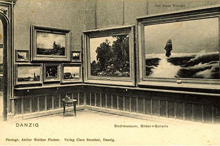 Galeria malarstwa w Muzeum Miejskim w Gdańsku, pocztówka, pocz. XX wieku, domena publiczna
