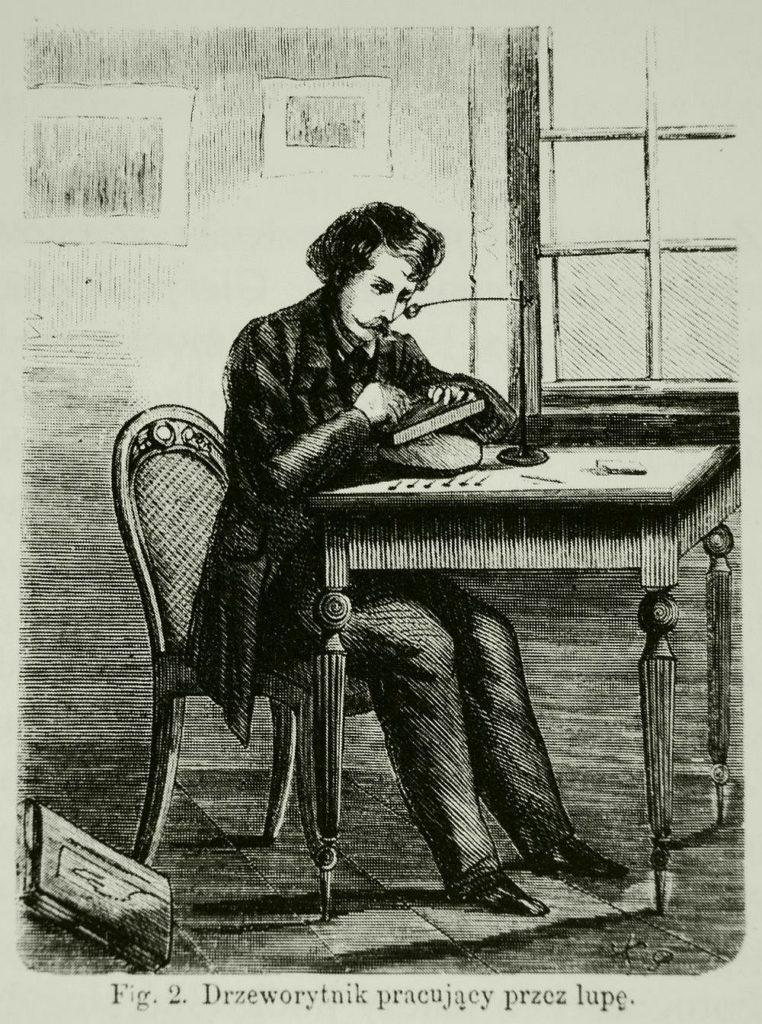 """Drzeworytnik pracujący przez lupę, ilustracja z """"Tygodnika Ilustrowanego"""", 1864, nr 243"""