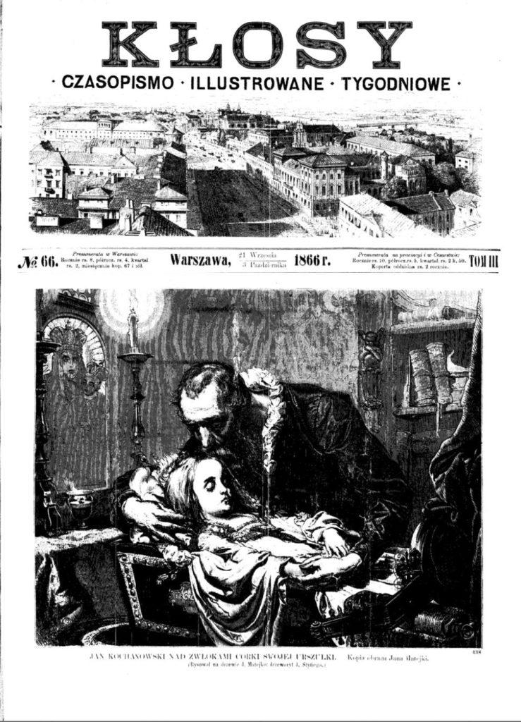 """Jan Matejko, Kochanowski Jan nad zwłokami Urszulki, Rytował Jan Stifi, """"Kłosy"""" 66 (1866), s. 1. Domena publiczna"""